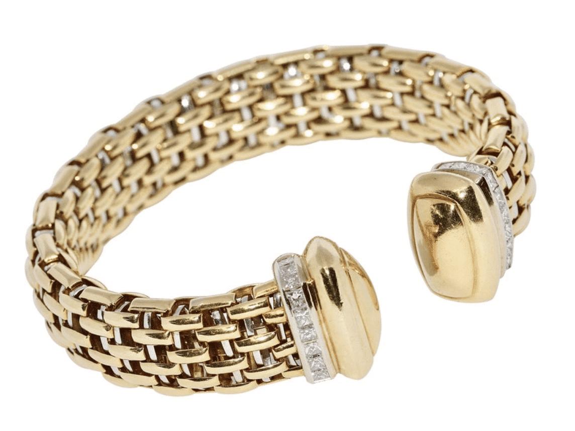 Gold Armreif mit Baguette Diamanten
