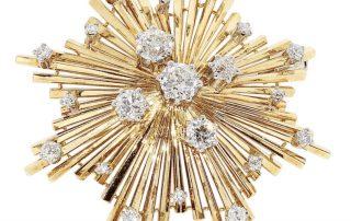Diamant Goldbrosche