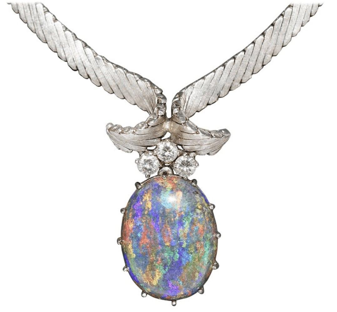 Opal Weißgold Collier